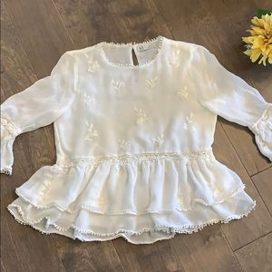 ZARA TRF Collection White lace & embroidered top S